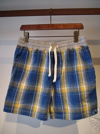 original indigo check short pants