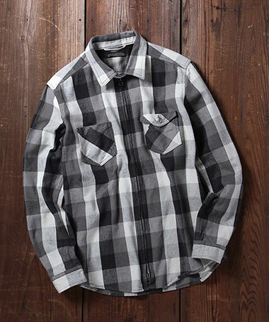 ROSE BUD COUPLES MSH-15208 H/W CHECK L/S ZIP WORK