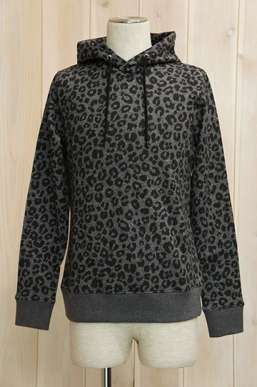 LOUNGE LIZARD/ラウンジリザード No.8580 30/20 裏毛 LEOPARD HOODED PULLOVER (CHACOAL)