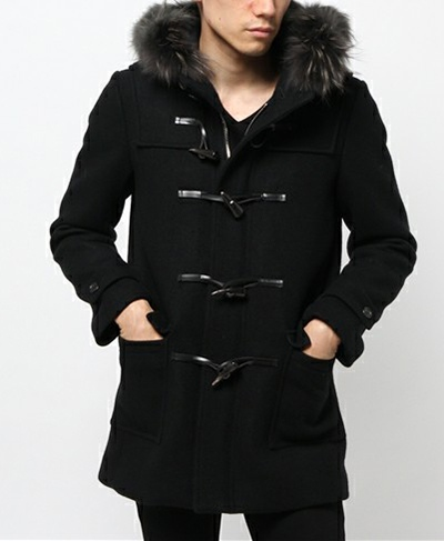 LITHIUM HOMME リチウムオム SUPER 140'S MELTON FUR HALF DUFFLE COAT