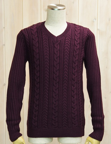 junhashimoto ジュンハシモト 1091520005 CABLE V NECK KNIT (WINE)