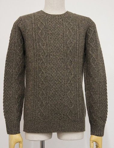 LOUNGE LIZARD ラウンジリザード No.2421 WOOL CASHMERE MELANGE CREW NECK SWEATER