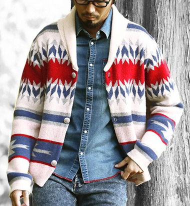 The DUFFER of ST.GEORGE ザダファー SHAWL COLLAR JAQUARD CARDIGAN:ジャガードカーディガン