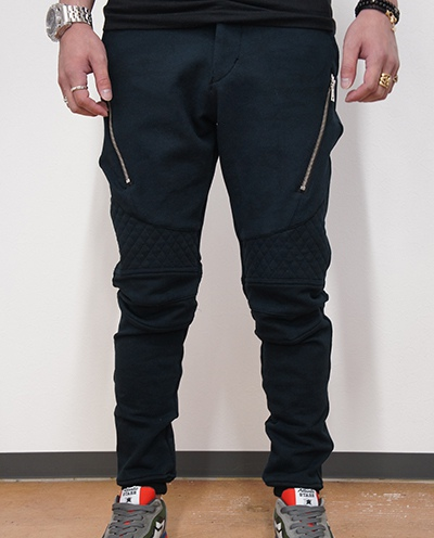 AKM × MOLOTOV COCKTAI ORIGINAL STRETCH JERJEY BIKER SWEAT PANTS