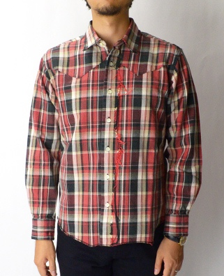 KURO クロ TWILL CHECK CUT OFF WESTERN SHIRT