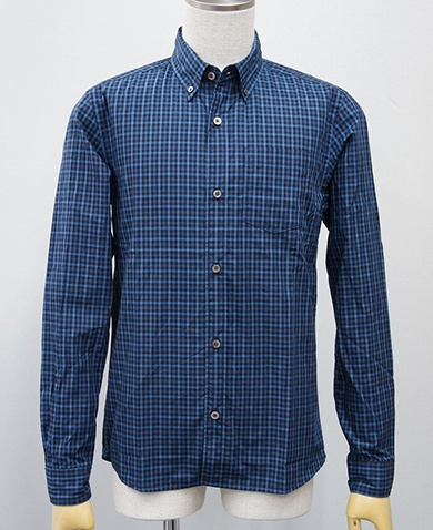 LOUNGE LIZARD ラウンジリザード No.4209 60/1 SWISS COTTON GINGHAM CHECK B.D SHIRTS