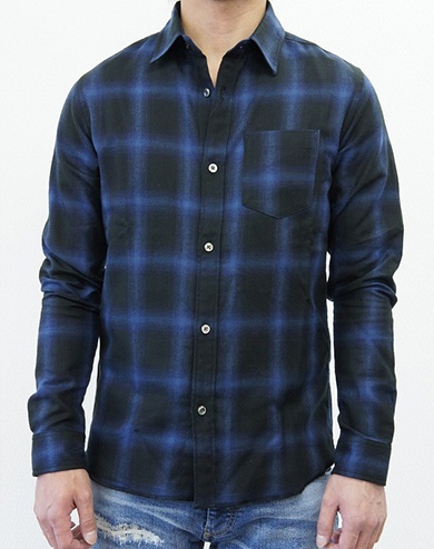 LOUNGE LIZARD ラウンジリザード No.4224 C/TE VIYELLA DARK OMBRAY CHECK SHIRT