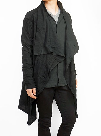 kiryuyrik キリュウキリュウ Damage Border Lapel Cardigan