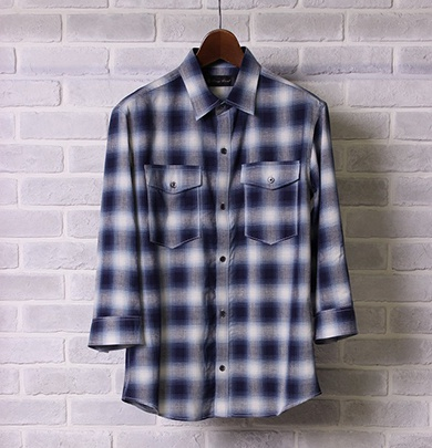LOUNGE LIZARD ラウンジリザード ]No.4236 R/L OMBRAY CHECK 3/4 SLEEVE SHIRTS